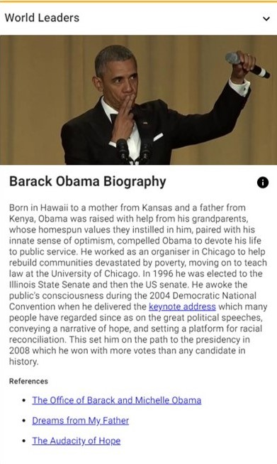 barack obama's top heroes card - rear